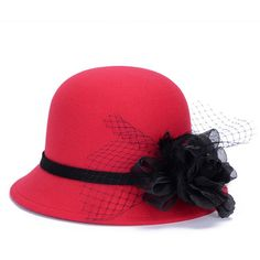 6a732db348ebd Red Fedora Hats for Women Winter Lady Headgear LQJ01092