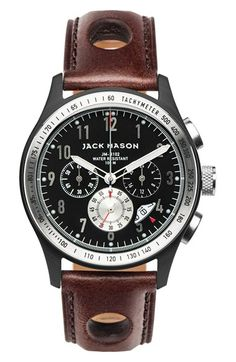 Free shipping and returns on Jack Mason Brand Chronograph Leather Strap Watch, 42mm at Nordstrom.com. A textured 60-second subdial and bold tachymeter bezel pop against the dark dial of a sporty three-eye chronograph housed in a tough stainless-steel case. Quick-release pins make it simple to switch out the riveted leather strap and create your own custom look.