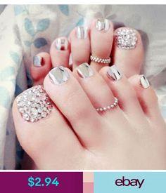 24 Pcs/Set Foot False Nail Tips With Glue Toe Art Tool Glitter Rhinestone Fake Toes Nails For Women Foot Nail Art Full Tips. Cute Toe Nails, Toe Nail Art, Pretty Nails, My Nails, Gel Nail, Nail Polish, Pretty Toes, Nails 2017, Nails Metallic