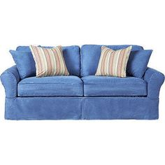 Color of the  month:  Denim blue couch for the porch