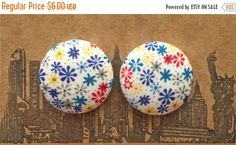 20% OFF SALE Button Earrings / Fabric Covered / by ManhattanHippy