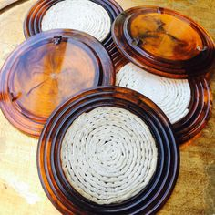 Tortoise Shell Lucite Coasters Set 1960s Coasters by ACertainFeel