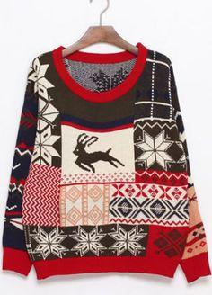 Coffee Deer Snowflake Fair Isle Pattern Sweater pictures