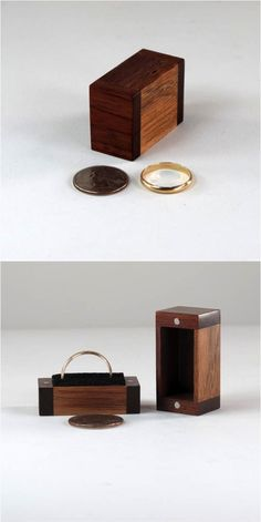 Small handmade wooden box that can hide in your pocket.  This tiny box is completely handmade using recycled fine hardwoods and has no sharp edges, no protruding hinges, no clasps, and no catches. Top and bottom halves are secured with small magnets and can be easily popped opened and snapped shut. Included is a black foam insert to secure a ring - or it can be easily taken out. Perfect for a secret gift box to present a ring or for storing small jewelry items for safekeeping almost…