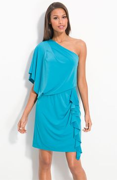 Jessica Simpson one shoulder dress in enamel blue. $98 i WANT THIS FOR DB'S REHEARSAL DINNER.