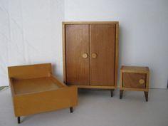 BODO HENNIG 1960s Dollhouse Bedroom / Schlafzimmer Furniture