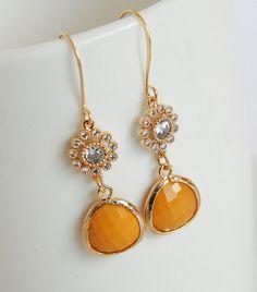 25 Off Earring Sale  Gold Framed Mustard Glass by lilabelledesign, $21.00  https://www.etsy.com/listing/95903550/25-off-earring-sale-gold-framed-mustard?ref=shop_home_active