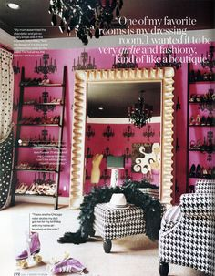 Miley Cyrus' Shoe Closet (with FABULOUS Art by Sugarluxe) - http://www.sugarluxe.com/fabulous-girl-art-miley-cyrus-hollywood-bedroom-black-pink-fucshia-interior-graphic-design.html