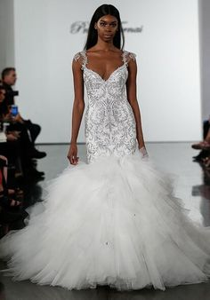 Style 4718 by Pnina Tornai / Diamond White // Crystall Embellished Mermaid Wedding Dress With Tulle Skirt Tulle Wedding, Cheap Wedding Dress, Mermaid Wedding, Gown Wedding, Wedding Favors, Ball Dresses, Bridal Dresses, Ball Gowns, Pnina Wedding Dresses