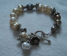 Freshwater pearls and Thai silver bracelet