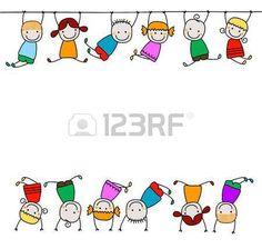 Crianças felizes brincando - Millones de fotos, vectores, vídeos y archivos de música para inspirar tus proyectos. Doodle Drawings, Easy Drawings, Doodle Art, Drawing For Kids, Art For Kids, Crafts For Kids, Stick Figure Drawing, Stick Figures, Cartoon Kids