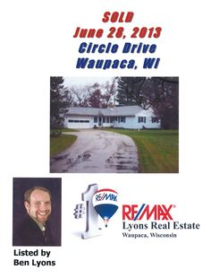 Sold on Circle Drive, Waupaca, WI (Waupaca County) by Ben Lyons, RE/MAX Lyons Real Estate, Waupaca, WI