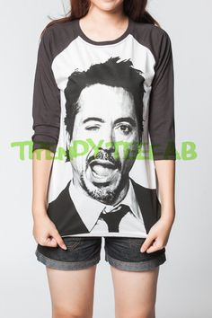Robert Downey Jr Shirt Baseball RDJ Iron Man by TrendyTeeFab