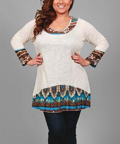 Look what I found on #zulily! Brown Arabesque-Contrast Tunic - Plus #zulilyfinds
