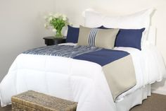 Blue Grey & Khaki Modern Bedding Set with Bed Scarf and 3 Pillows by Fabrinique @Fabrinique #bedding #homedecor #pillows