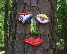 Picasso Tree Face Garden Art Yard or Fence Art In by tlgpottery, $46.00
