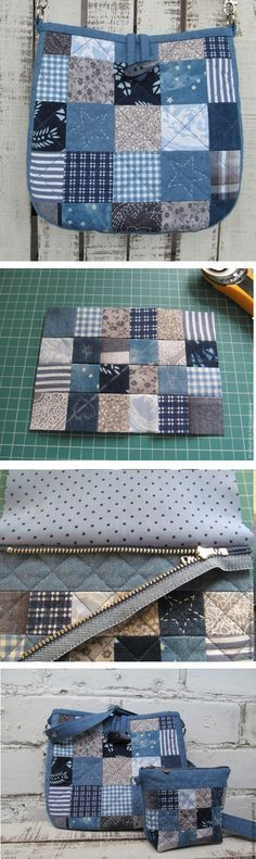 """Simple Pretty Boro Style Bag Sew Tutorial Do it yourself madness goes on full speed as everytime!"", ""unfortunately just the cosmetics bag pattern, wo Patchwork Bags, Quilted Bag, Patchwork Ideas, Sacs Tote Bags, Diy Sac, Denim Ideas, Denim Crafts, Recycle Jeans, Denim Bag"