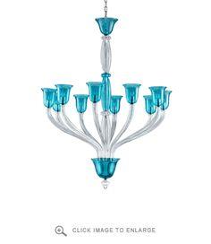 Vetrai Large Teal Glass Chandelier | Polka Dot Peacock
