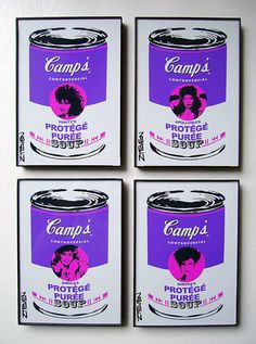 Prince Vanity Apollonia Protege original framed Pop Art Cans artwork set of 4 by Zteven