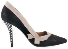 LANVIN - Suede court shoe with ribbon and crytals