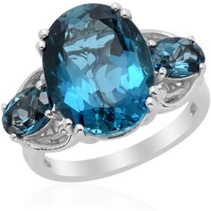 London Blue Topaz (Ovl 12.10 Ct) Ring in Platinum Overlay Sterling... ($180) ❤ liked on Polyvore