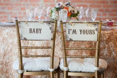 Unique Ideas For Decorating The Bride And Groom's Wedding Chairs Wedding Event Planner, Wedding Events, Our Wedding, Dream Wedding, Weddings, Wedding Stuff, Gatsby Wedding, Wedding Things, Gatsby Theme