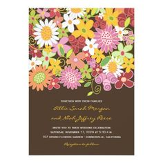 Whimsical Colorful Pink Pastels Spring Flowers Garden Whimsical Wedding Invite | Wedding Invitation by fatfatin