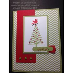 Believe Christmas Card Using Stampin' Up! Festival of Trees & Good Greetings Stamp Sets/ www.stampinwithlinda.com