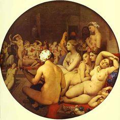 O banho turco (1862). Jean-Auguste-Dominique Ingres. tela sobre painel de madeira (1,08m x 1,10m). Museu do Louvre, Paris, França. Livro: FARTHING, Stephen. This is Art. Londres: Quintessence, 2010.