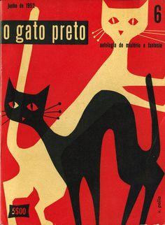 """""""o gato preto"""" cover by Victor Palla, 1952."""