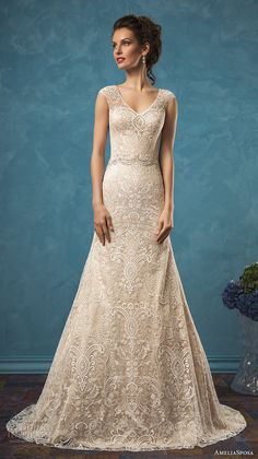 amelia sposa 2017 bridal sleeveless wide lace strap v neck fully embellished gorgeous beautiful a  line lace wedding dress lace illusion back chapel train (adele) mv