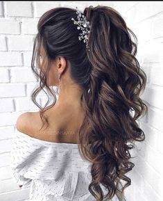 Hair Up Styles, Long Hair Wedding Styles, Elegant Wedding Hair, Wedding Hair Down, Wedding Hairstyles For Long Hair, Wedding Hair And Makeup, Bride Hairstyles, Ponytail Hairstyles, Medium Hair Styles