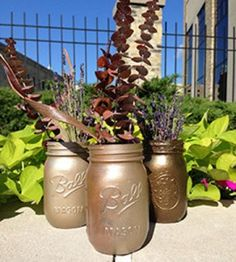 This simple mason jar DIY uses spray paint to give your jars a lovely metallic luster.