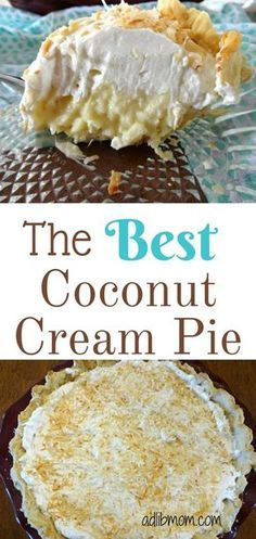 This is the best coconut cream pie recipe. Creamy from scratch coconut custard sits in a flaky pie crust and is topped with real whipped cream and. Best Coconut Cream Pie, Coconut Custard, Pie Coconut, Coconut Cakes, Sweet Desserts, Just Desserts, Delicious Desserts, Vegan Desserts, Pie Dessert