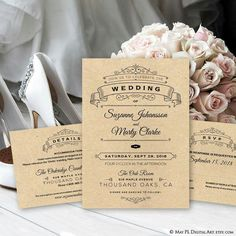 Wedding invitation print on kraft paper for rustic look or keep