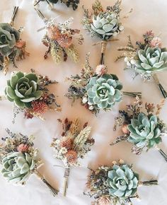 New Succulent Wedding Ideas Groom Boutonniere 46 Ideas Floral Wedding, Rustic Wedding, Wedding Flowers, Succulant Wedding, Corsage Wedding, Wedding Bouquets, Groom Boutonniere, Boutonnieres, Fall Wedding Boutonniere