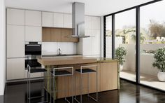 A small, but well appointed inner city kitchen design. Beautiful Verde Bamboo Island benchtop.  #DanKitchensAus