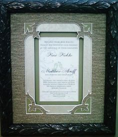 A WOW #CustomFramed Wedding Invitation. Check out the amazing mat designs! #Art