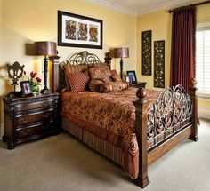 20 Tuscan-style decoration ideas for bedrooms that will make your sleep warm – design & decoration - Warm home decor Tuscan Style Bedrooms, Tuscan Style Homes, Tuscan House, Tuscan Bedroom Decor, Bedroom Ideas, Tuscan Bathroom, Tuscan Style Decorating, Home Interior, Interior Design