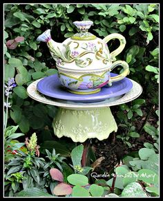 Floral Teapot Garden Totem Stake  As by GardenWhimsiesByMary, $38.00