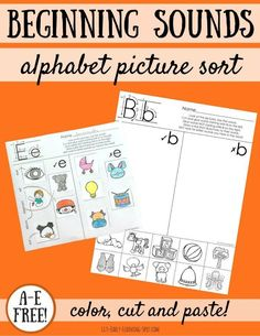 These free beginning sounds picture sorts help children think about the initial sound of a word and how that relates to reading and writing! Initial Sounds, Letter Sounds, Beginning Sounds Worksheets, Alphabet Sounds, Sound Words, Letter Activities, Literacy Activities, Literacy Centers, Letter Recognition