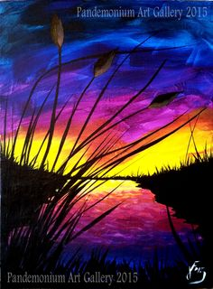 In this video, I'll be showing you how to paint a simple sunset, silhouette grasses and cattails, as well as reflective water. This is a good lesson for begi...