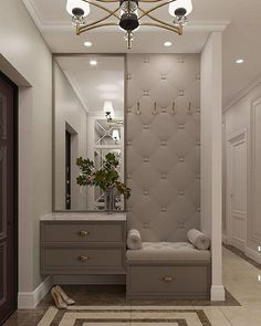 Home Hall Design, Home Interior Design, Bedroom Closet Design, Bedroom Furniture Design, Wardrobe Door Designs, Flur Design, Home Entrance Decor, Dressing Room Design, Home Goods Decor