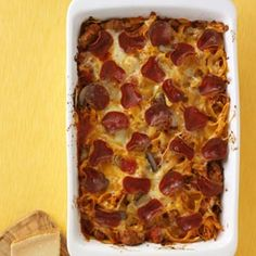 Pepperoni Pizza Casserole - Loaded with popular pizza flavors, this noodle bake is sure to be a winner with all ages. You can use ground beef instead of turkey. I like to serve it with garlic bread and a salad.