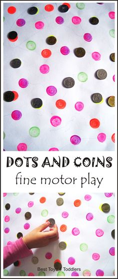 Set up dots and coins fine motor activity for your toddlers and preschoolers in seconds! They can complete this activity on their own from the beginning to the end. Fine Motor Activities For Kids, Motor Skills Activities, Preschool Learning Activities, Play Based Learning, Gross Motor Skills, Preschool Art, Infant Activities, Toddler Preschool, Fun Activities