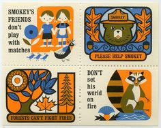 Cute illustrations of the mascot for the forest service Smokey the Bear on Vintage US stamps. Draplin Design, Illustrations Vintage, Smokey The Bears, Lion Design, Retro Pop, All Nature, Stamp Collecting, Mail Art, Tumblr