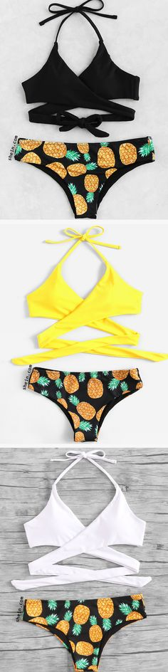 0738f6d48a369 Product name: Pineapple Print Wrap Mix & Match Bikini Set at SHEIN,  Category: Bikinis