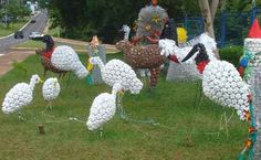 Поделки для сада  из пластиковых бутылок: аисты и цапли - Садовые фигурки своими руками: птицы из пластиковых бутылок