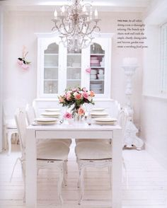 """Dining Area ,from the London Home of Maria Myers,Designer/Founder of Chic Shack as been published worldwide,from the Book """"Romantique Style""""."""