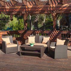 Home Loft Concept Driago Outdoor 4 Piece Wicker Seating Set